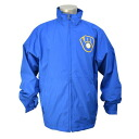 Majestic MLB Milwaukee Brewers Authentic Wind Jacket (blue)