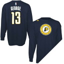 NBA Pacers # 13 Paul George Name & Number Long Sleeve T shirt (Navy Blue) Adidas