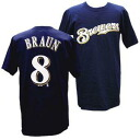MLB Brewers #8 Ryan brown Player T-shirt (navy) Majestic