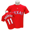 Majestic MLB Rangers # 11 Yu Darvish of Player T shirt JPN Ver (red)