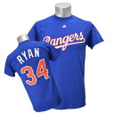 MLB Rangers # 34 Nolan Ryan Cooperstown Player Name & Number t-shirt (blue)-Majestic