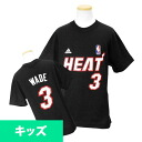 Adidas NBA heat # 3 Dwyane Wade Youth GAME TIME t-shirt (black)
