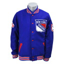 NHL New York Rangers Wool Varsity Front Snap jacket (blue) Mitchell &Ness
