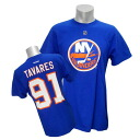 2013 (blue) NHL islanders #91 John タバレス Name&Number T-shirt Reebok