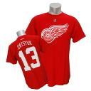 2013 (red) NHL Red Wings #13 パベルダツック Name&Number T-shirt Reebok