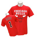 NBA Bulls #1 Derrick Rose Player Name & Number T-shirt (red) Majestic
