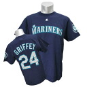 MLB Mariners #24 Ken Griffey Jr Cooperstown Player Name & Number T-shirt (navy) Majestic