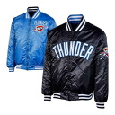 NBA Oklahoma City sander Exclusive Collection Reversible Satin jacket (light blue / navy) Majestic