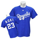 MLB Royals # 23 Norichika Aoki Majestic Player T shirt JPN Ver (blue)