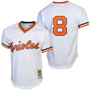 MLB Baltimore Orioles # 8 Cal Ripken Authentic Batting Player jerseys (1985 White) Mitchell &Ness