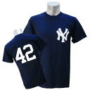 Majestic MLB New York Yankees 42 Number T shirt (Navy)