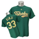 Tohoku Rakuten Golden Eagle #33 silver next Tohoku green name & number T-shirt Majestic