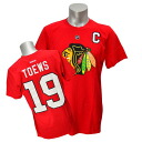 NHL Blackhawk's #19 Jonathan テイヴス Name&Number T-shirt (red) Reebok