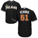 Majestic MLB Marlins # 51 Ichiro Suzuki Cool Base Player Replica Game jerseys (alternate 1 / black)