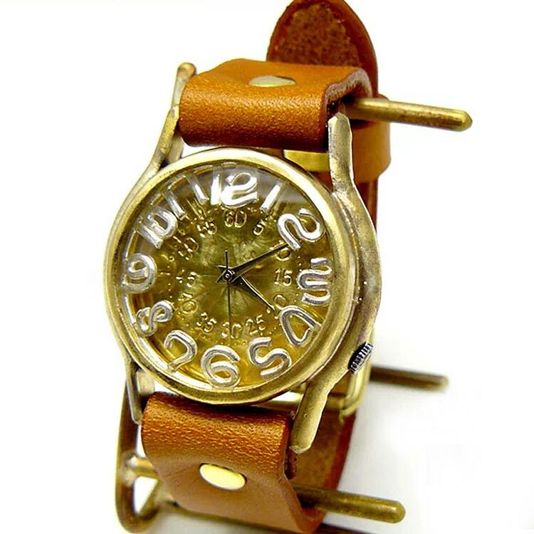 個性派着物と浴衣の和服さん ニコアンティーク ゆかた ユカタ にこあんていーく 奇抜 レトロ きもの 注染 おしゃれ 可愛い 腕時計 リスト ウォッチ ハンドメイド 渡辺工房 真鍮 レディース メンズ