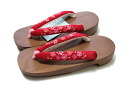 Paulownia Geta straps red / cherry blossom Pattern Chirimen straps (one size fits most / women's / soft or straps)