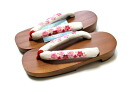 Paulownia clogs (/ tender clog thong for adjustable size / women) of the cream clog thong / cherry tree pattern crepe clog thong