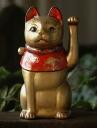 """Antique look Taisho cat """"gold cat"""""""