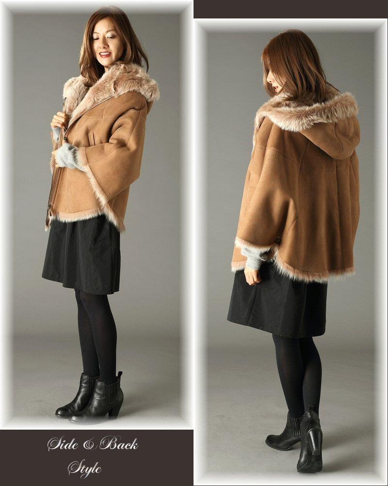 ポンチョ コート ムートン / 91052 レディースファッション アウター ポンチョ フード 大人 女性 ウール カシミヤ ダウン コート ムートンコート ベージュ ブラック