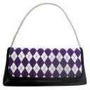Second bag (handbag, yukata) diamond / purple X black X white 10P18Oct13