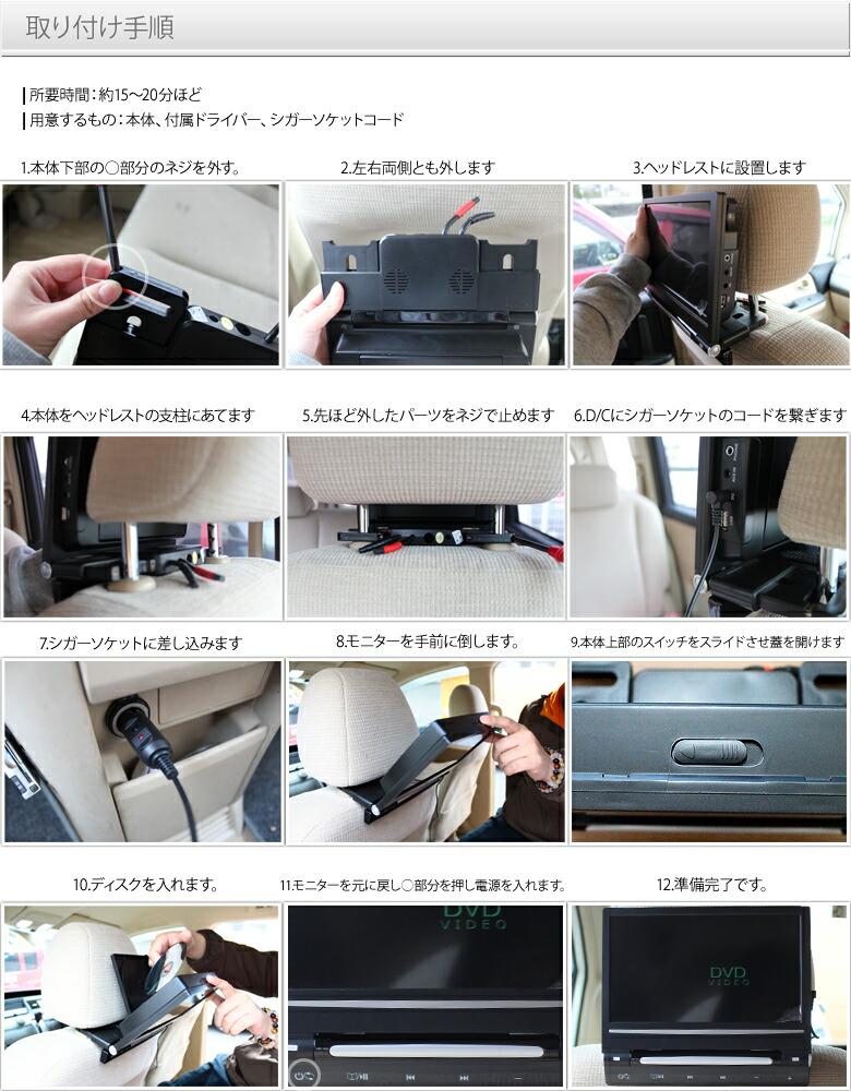 [シガーソケット挿し込み簡単取付♪]車載用ポータブルDVDプレイヤー/モニター9インチ ヘッドレスト用 CD/SDカード/USB/MP3-取り付け手順