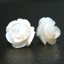 Mother-of-Pearl 11 mm to 12 mm white rose earrings