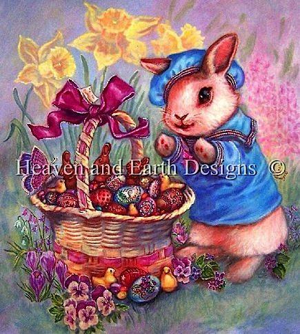 アメリカ発、Heaven And Earth Designs(HAED)の絵画のようなクロスステッチチャートEaster Basketの写真