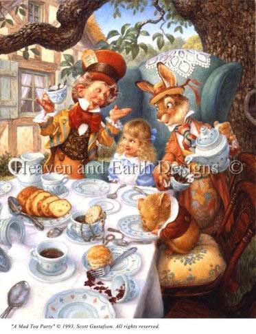 アメリカ発、Heaven And Earth Designs(HAED)の絵画のようなクロスステッチチャートMad Tea Partyの写真
