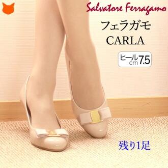 Salvatore Ferragamo 真皮 女裝 CARLA70 搪瓷 帶子 高跟鞋 細跟 正規品