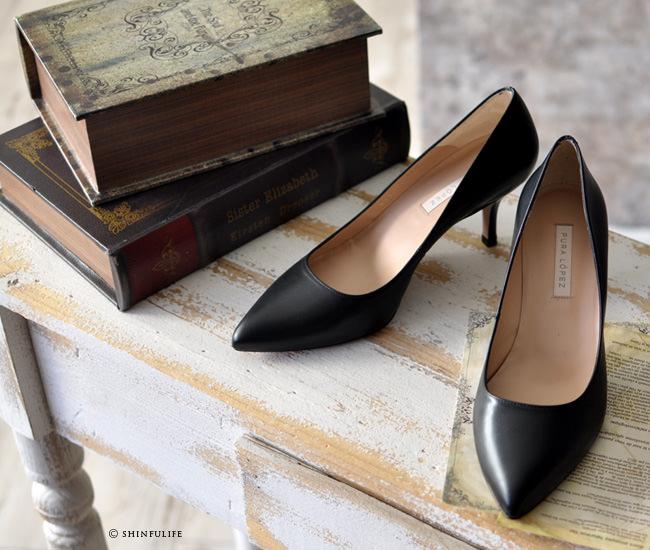 スペイン王室御用達の人気ブランド プーラロペス pura lopez 6cm ヒールパンプス<br />履きやすいきれいめパンプス 6センチヒール 痛くない 疲れない 歩きやすい 結婚式 セレモニーにも ブラック 黒 ベージュ plae411 写真ブラック