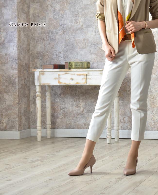 スペイン王室御用達の人気ブランド プーラロペス pura lopez 6cm ヒールパンプス<br />履きやすいきれいめパンプス 6センチヒール 痛くない 疲れない 歩きやすい 結婚式 セレモニーにも ブラック 黒 ベージュ plae411 モデル写真カメオベージュ