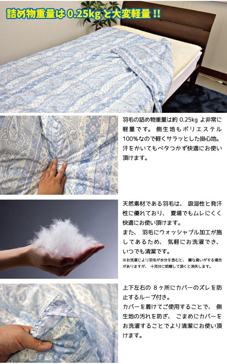 暑すぎず寒すぎないオールシーズン使えるウォッシャブルダウンケットです。寝冷え防止にもピッタリの薄さです。