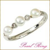 リング 指輪 パールリング 真珠リング 真珠の指輪 ベビーパール ダイヤモンド ホワイトゴールド K18WG あこや本真珠