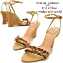 Wedge sole sandal Ribbon ankle strap Womens shoes ladies sandal leather