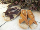 [a reservation product] Calzanor (カルザノール) espadrille sandals No. 755 (suede cloth / cross wedge sole sandals / mule)