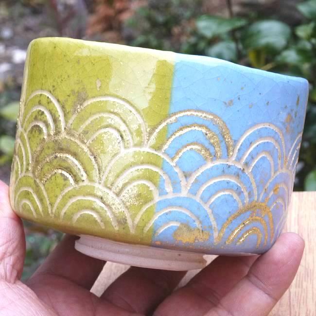 楽茶碗 五光青海波 和楽