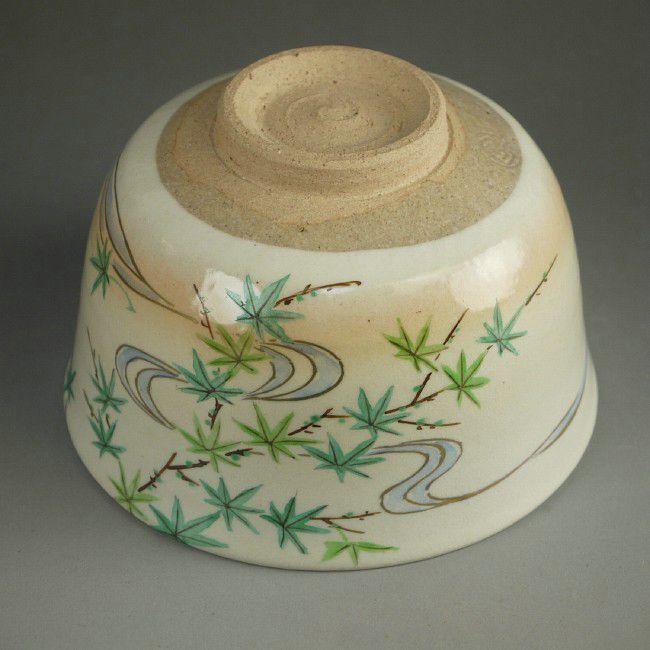 【京焼 清水焼】抹茶碗 青紅葉
