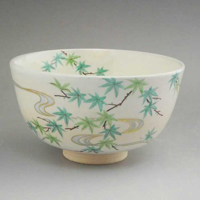 【京焼 清水焼】抹茶碗 青モミジ