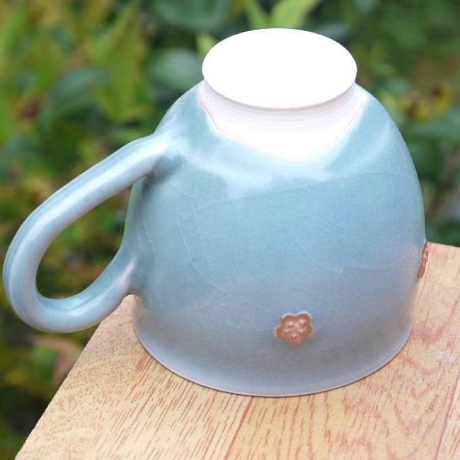 京焼清水青磁花紋マグカップ