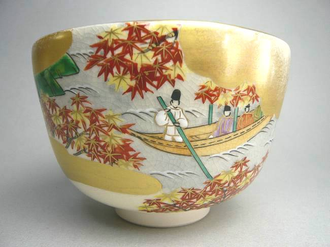 清水焼抹茶茶碗 源氏物語千年紀 総角 善昇