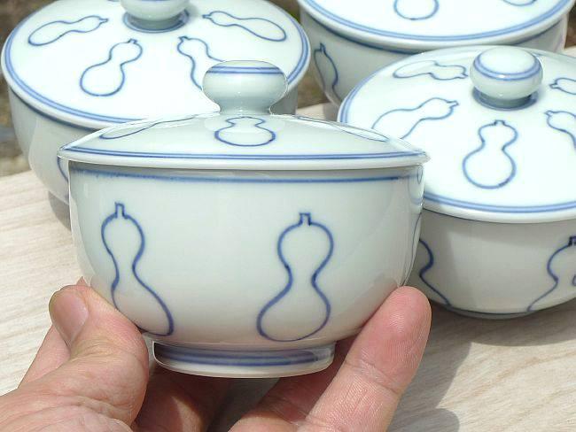 清水焼六瓢絵蓋付汲出碗
