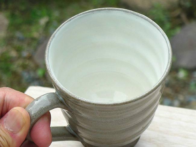 【京焼 清水焼】粉引ふくろうマグカップ 嘉峰