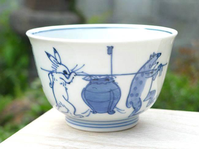 清水焼 鳥獣戯画蓋付汲出碗 陶仙