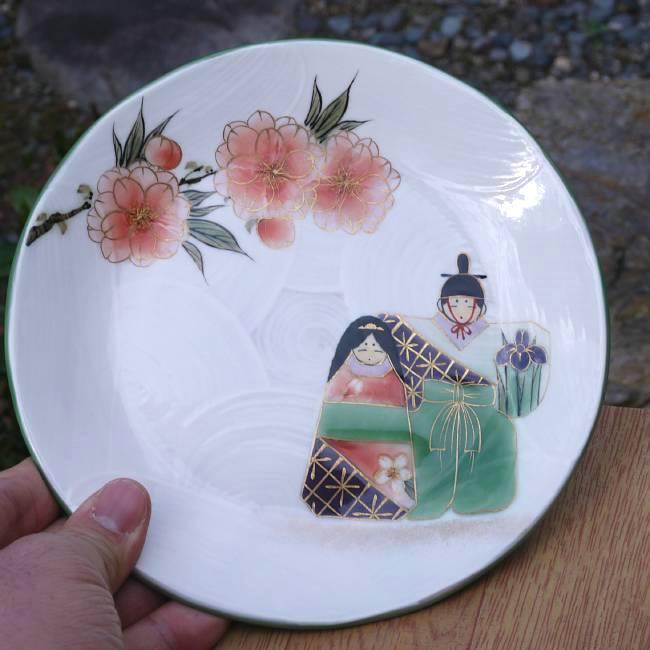 清水焼,京焼の窯元浅見与し三作雛人形銘々皿