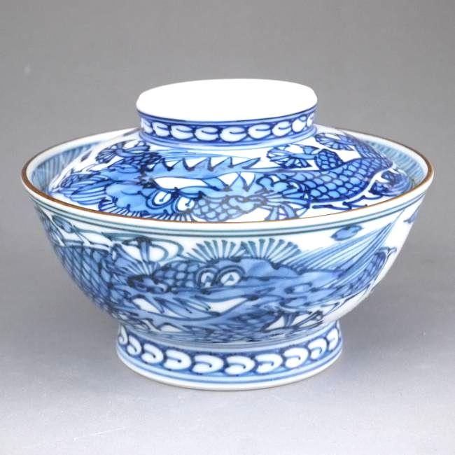 【京焼 清水焼】平八龍ご飯茶碗 蓋付