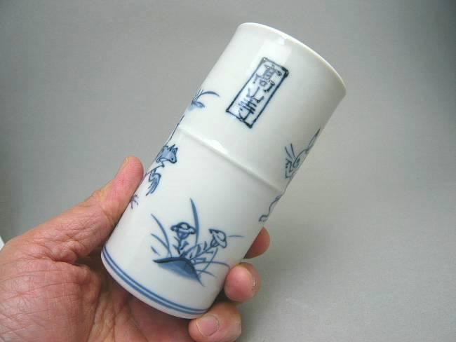 加藤芳山作染付祥瑞山水筆筒