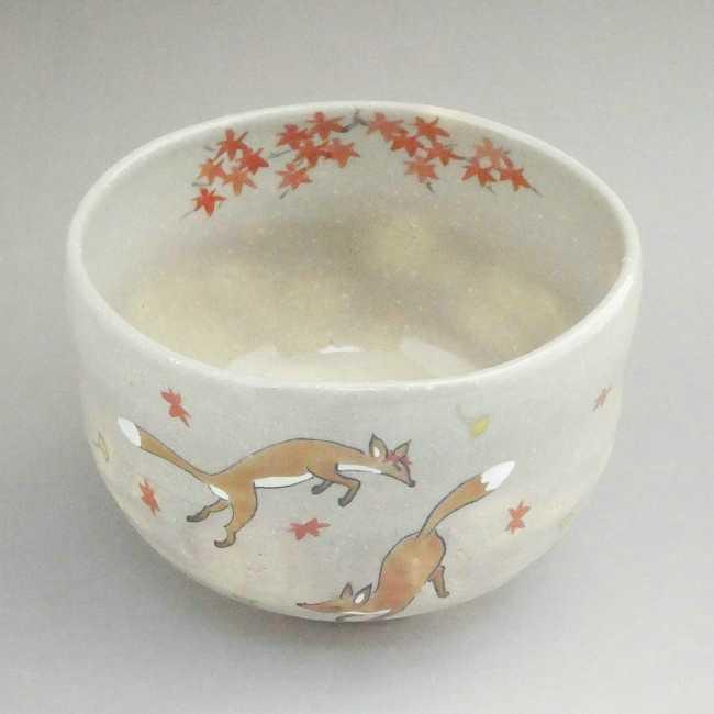 【京焼 清水焼】抹茶碗秋キツネ