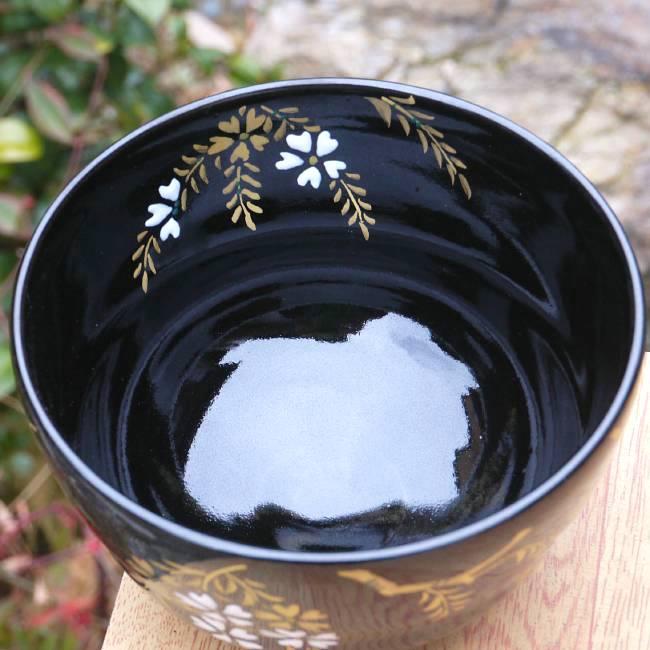 清水焼、林山作夜桜天目の抹茶碗