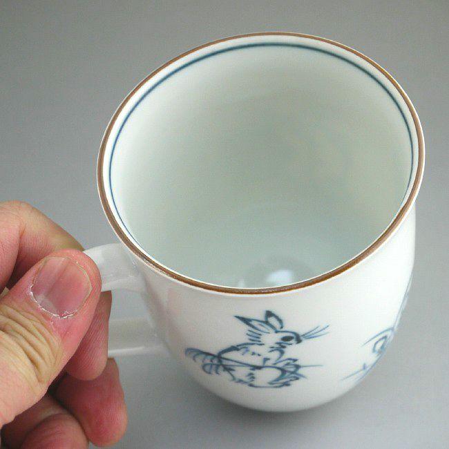 鳥羽絵 赤絵マグカップ