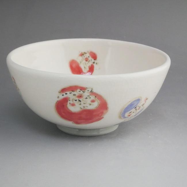 【京焼 清水焼】色絵だるま ご飯茶碗